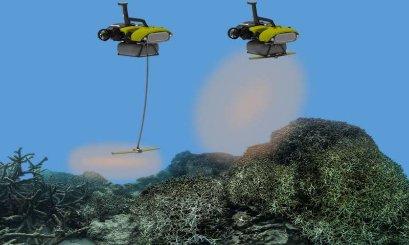 LarvalBot gently squirts the coral larvae onto damaged reef areas. Credit: QUT Media
