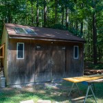 A shed with solar panels