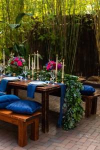 Boho chic dog wedding reception table