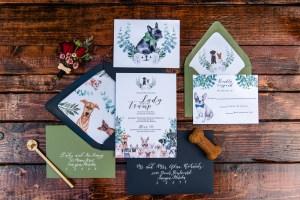 Boho chic dog wedding invtiation