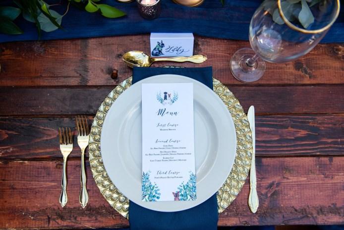 Boho chic dog wedding menu