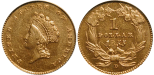 1855-D Gold Dollar