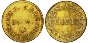 C. BECHTLER $1, 30 grains