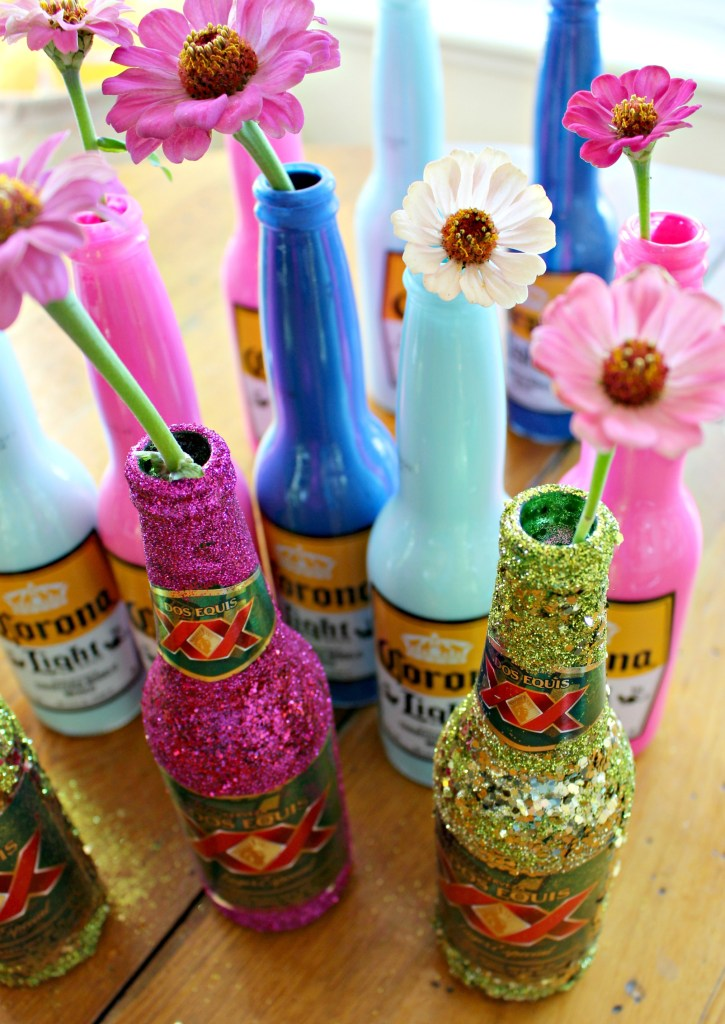 Painted & Glittered Beer Bottles! 3 DIY Decor Ideas for a Cinco de Mayo Fiesta!
