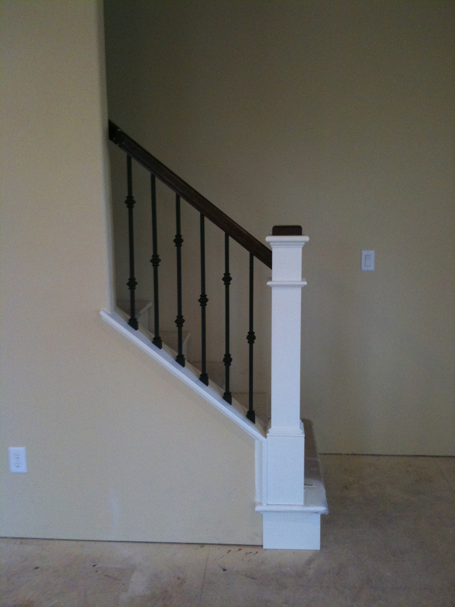Stair Gallery Heritage Stairs   Mission Style Newel Post   Craftsman Style   Maple   Stained Handrail   Stair Banister   Raised Panel