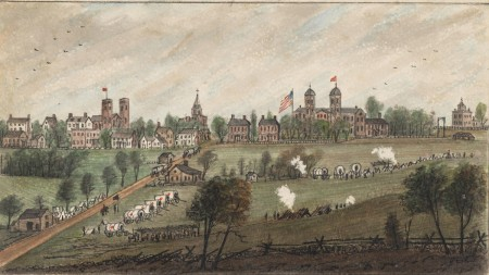 Drawn by a Union army cartographer, this August 18, 1862 view of Williamsburg shows the temporary headquarters of the Army of the Potomac's III Corps just 3 weeks before soldiers of the 5th Pennsylvania Cavalry burned the Wren Building, shown at center right, in the aftermath of a Confederate raid on the town.