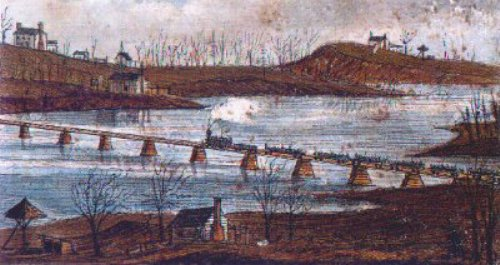 UNION PRISONERS OF WAR CROSSING THE YADKIN RIVER ON PLATFORM CARS Toward Salisbury, N. C., February 24, 1864, Robert Knox Sneden