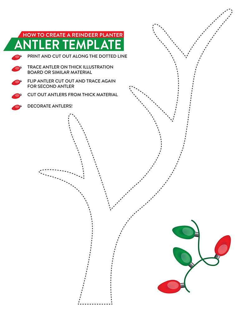 Printable Reindeer Antler Template