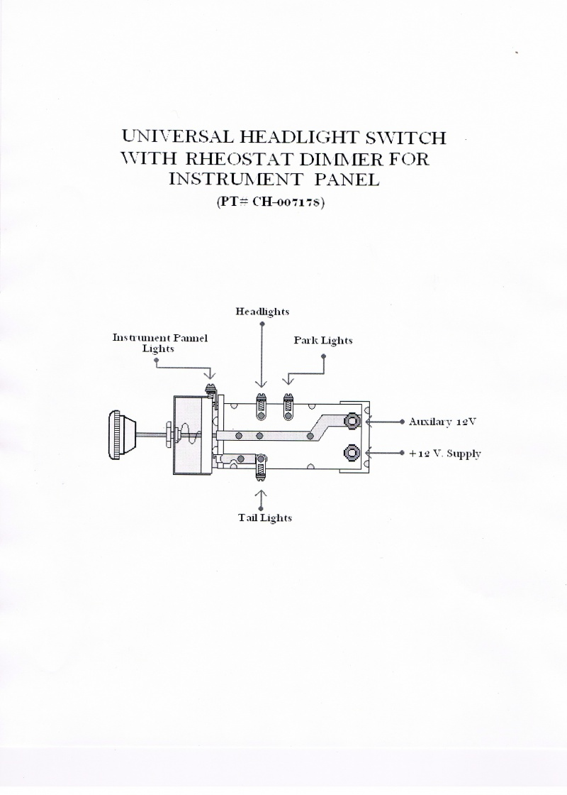 medium resolution of  universal headlight switch with rheostat dimmer for instrument panel pt ch 007178