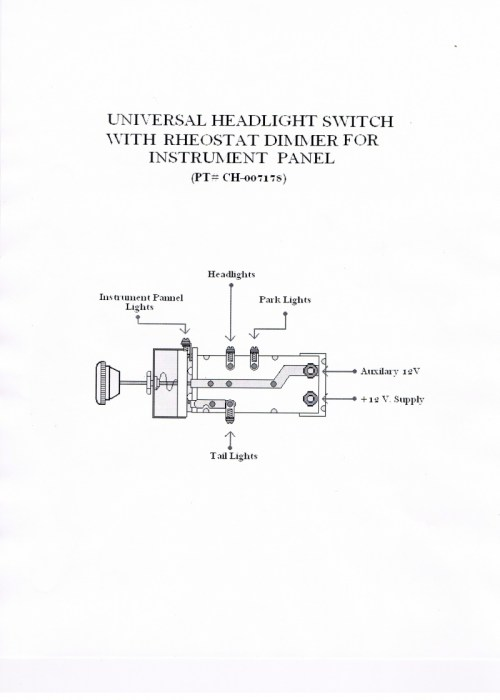small resolution of  universal headlight switch with rheostat dimmer for instrument panel pt ch 007178