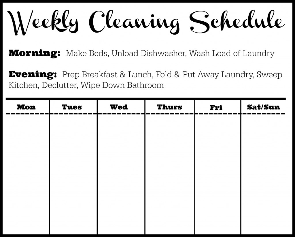 Cleaning Schedule Template Tips Southern Savers