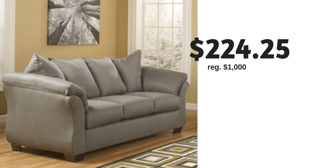 jcpenney sofa reviews fusion ashley for 224 25 shipped southern savers score major savings on this at right now the signature design by madeline fabric pad arm is sale regularly