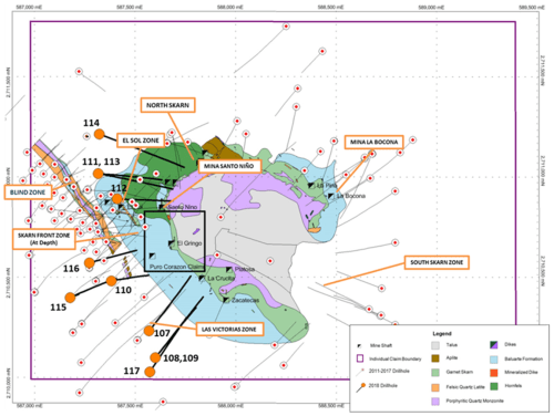 small resolution of these new intercepts help maintain and extend continuity within the 300m x 300m tested area particularly of the high grade hanging wall mineralization