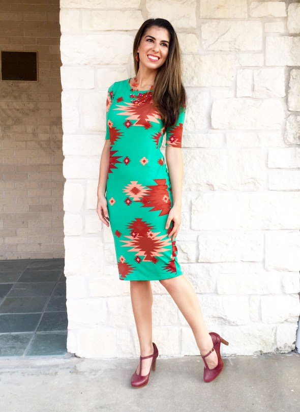 Green and Coral Dress with Burgundy Heels
