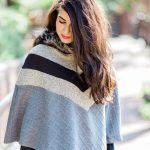 black and grey and beige poncho