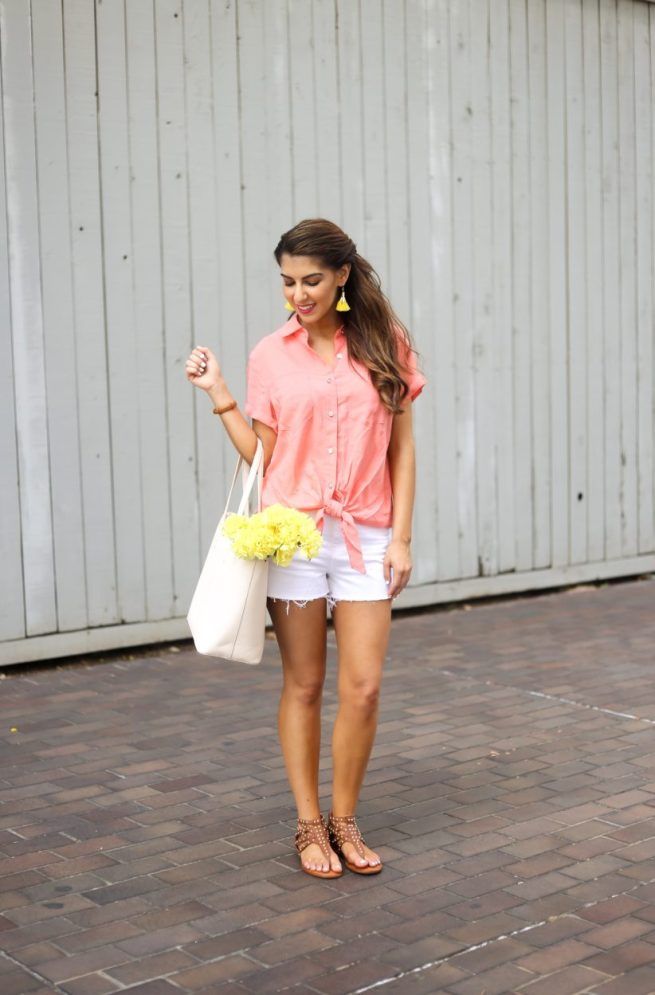 Coral Button Down Top with White Denim Shorts