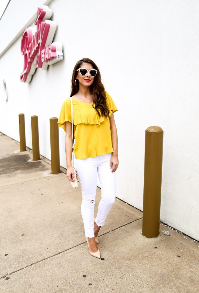 Mustard Ruffle Top with White Denim Jeans