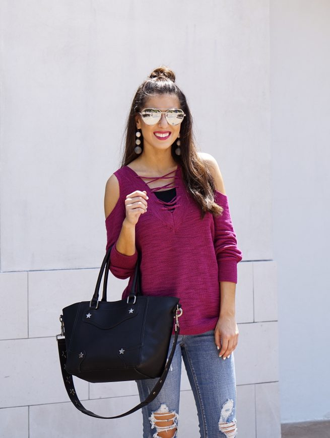 A Berry Colored Lace Up Tunic Sweater
