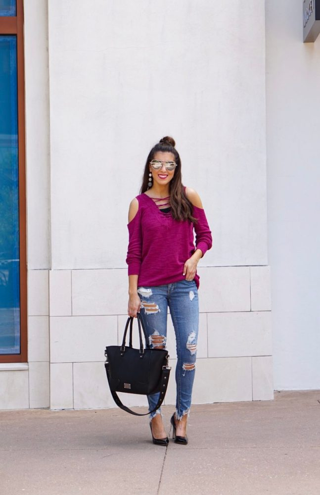 Berry Lace Up Tunic Sweater and Ripped Denim Jeans