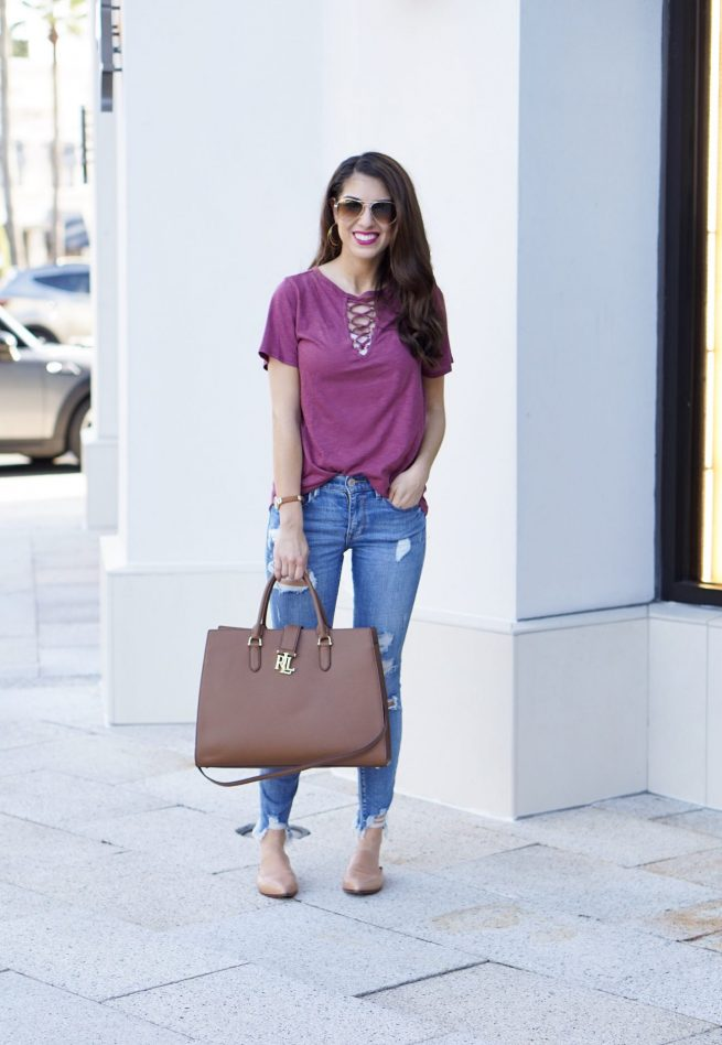 Burgundy Lace Up Tee and Denim Style