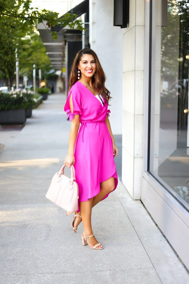Wrap Dress with Tie Bow Sleeves