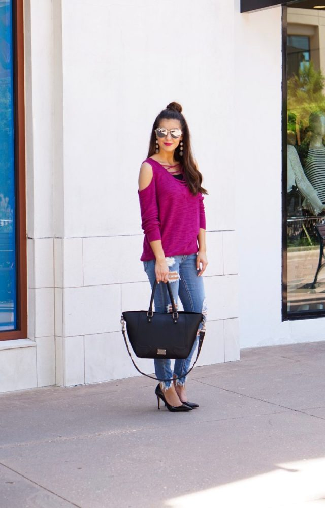 Lace Up Tunic Berry Colored Sweater