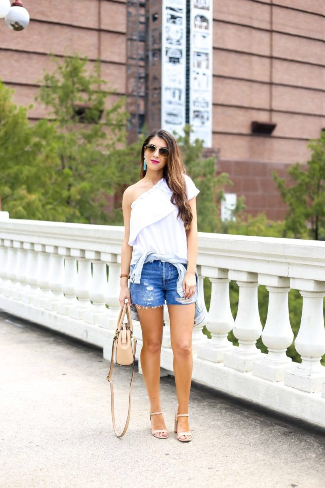 One Shoulder Top and Distressed Denim Shorts