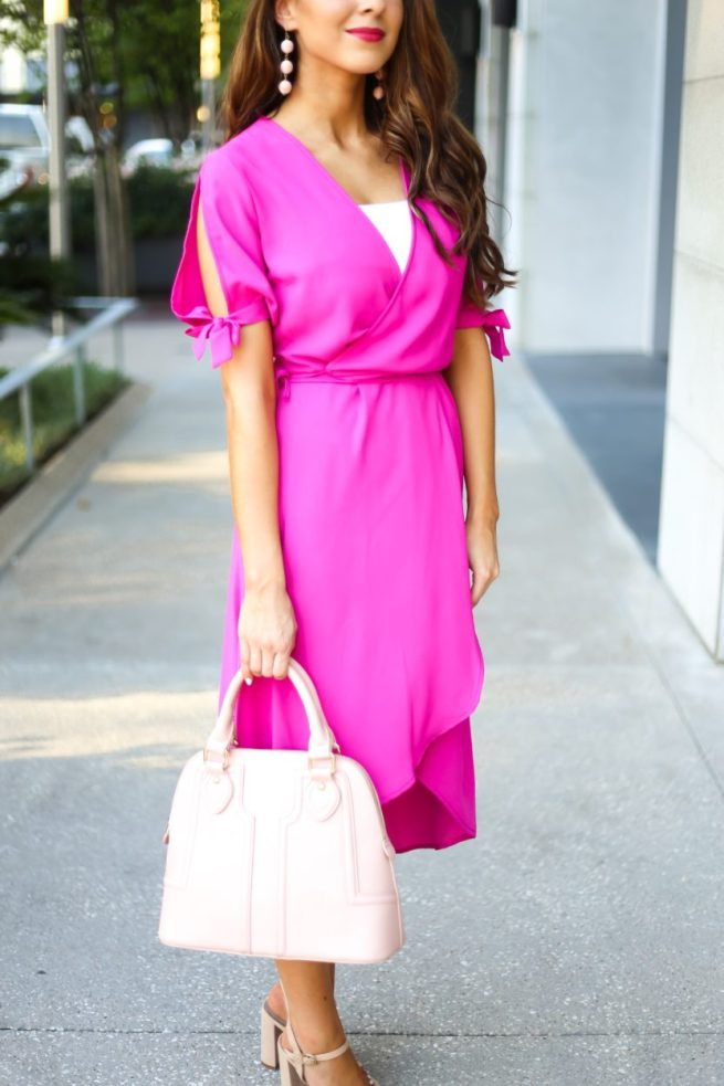 Pink Wrap Dress with Bow Tie Sleeves