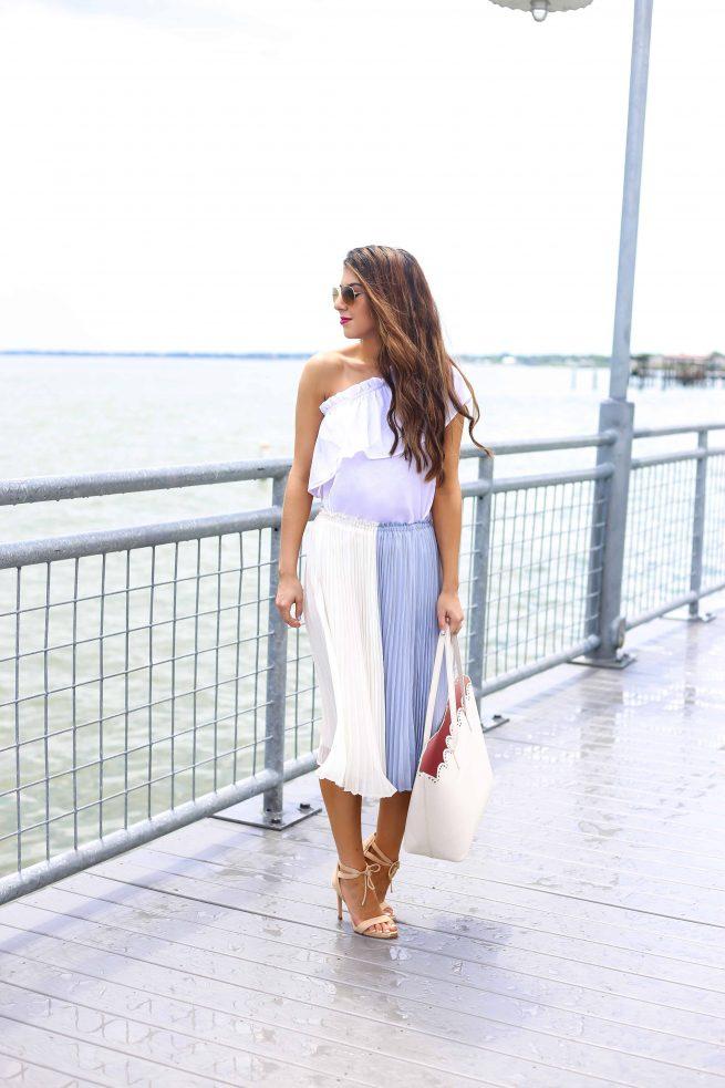 Summer Colorblock Pleated Skirt