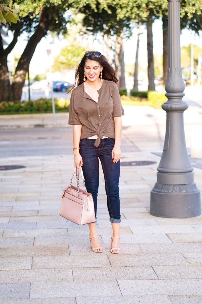 Tie Front Top and Denim Style