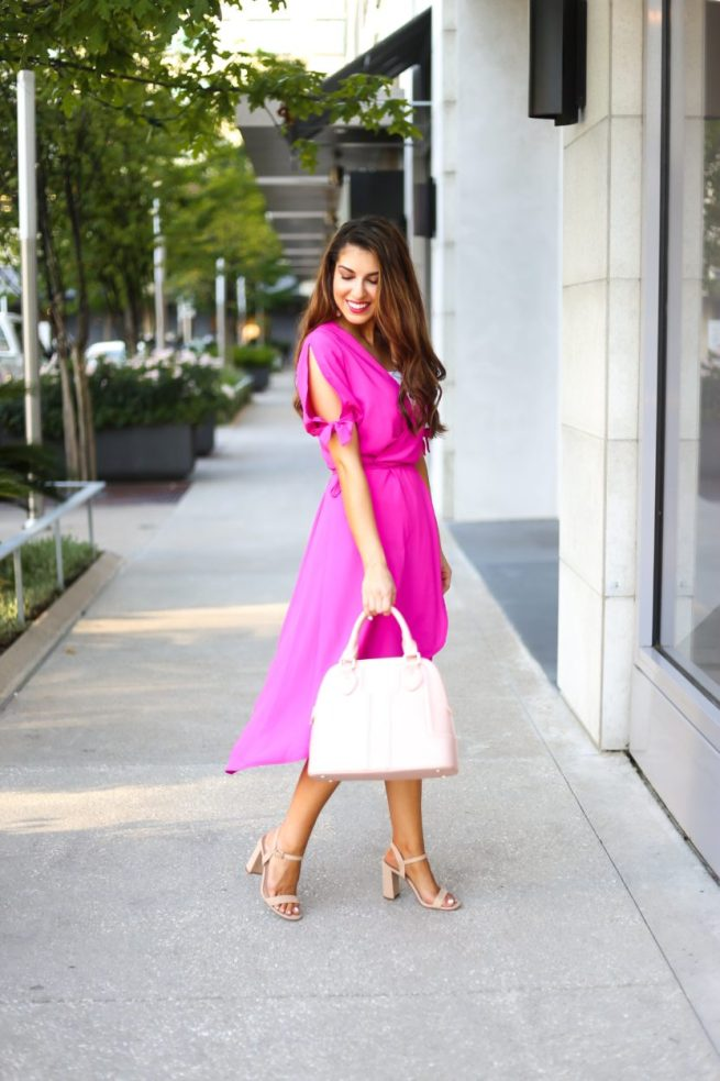 Topshop Hot Pink Wrap Dress