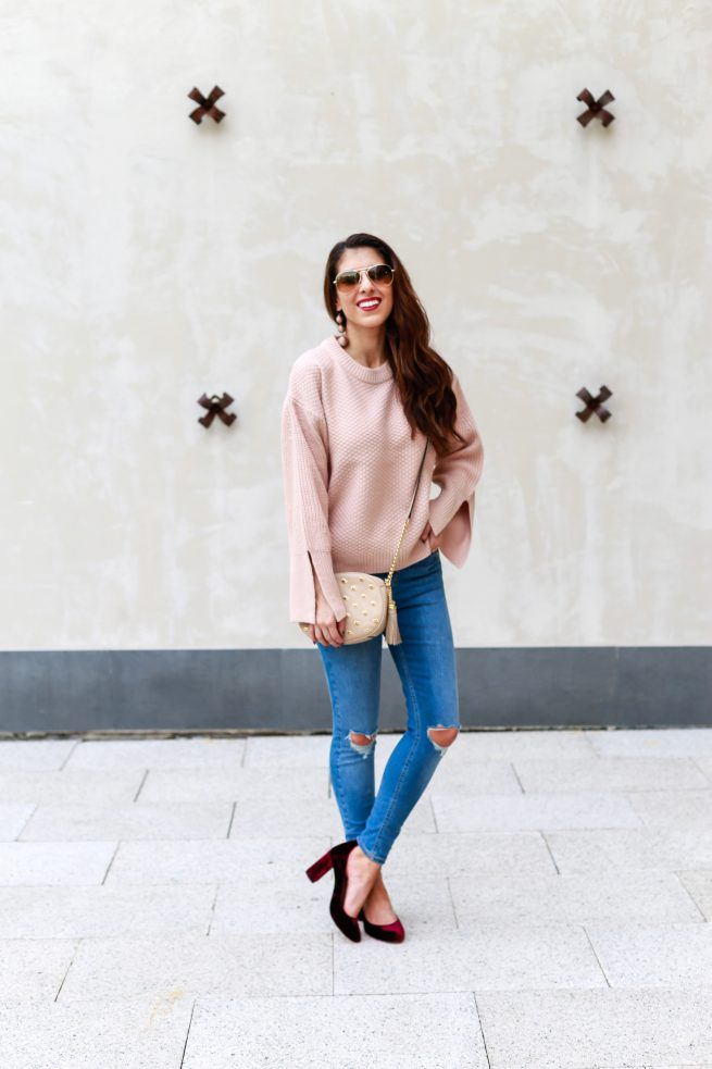 Beautiful Nude Sweater and Denim Style
