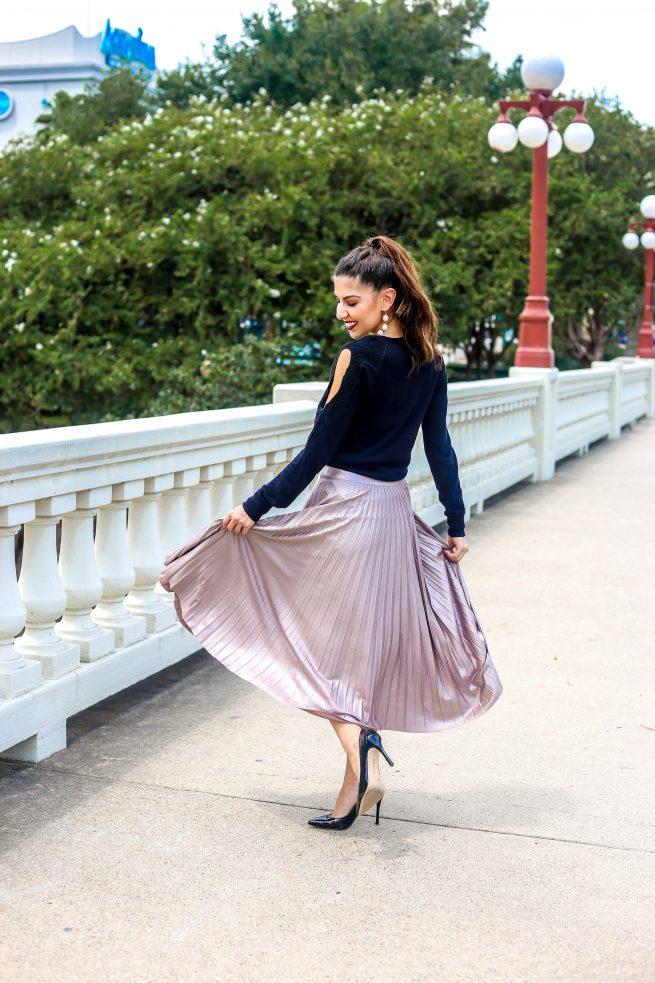 Blush Pink Pleated Skirt