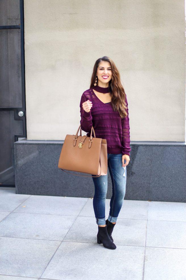 Burgundy Choker V Neck Sweater.