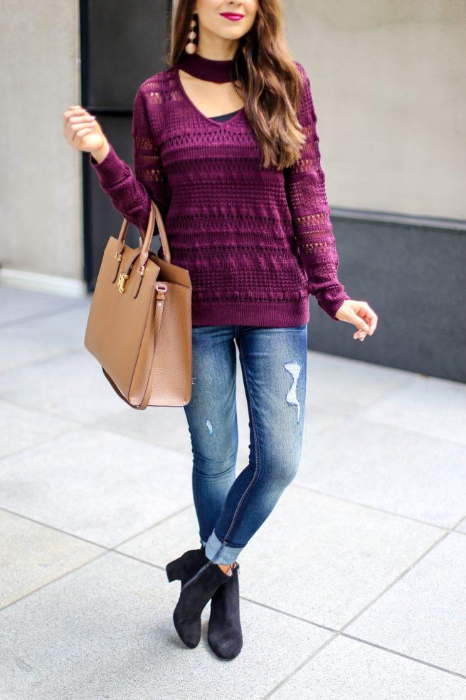 Burgundy V Neck Sweater for Fall