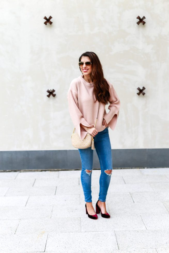 Nude Sweater and Ripped Jeans