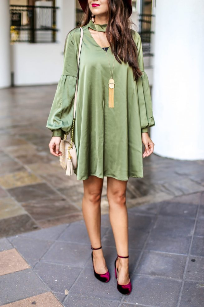 Olive Dress with Bubble Sleeves