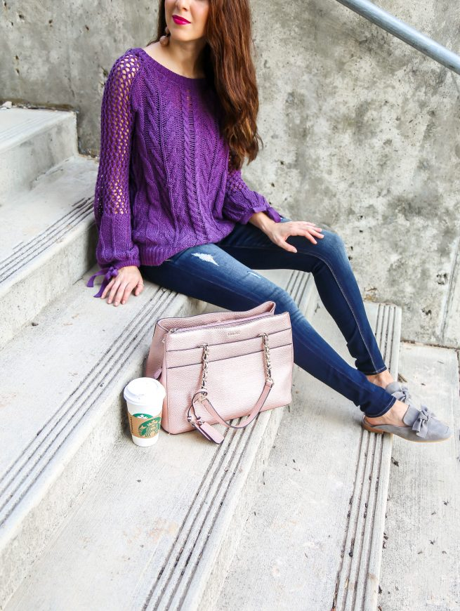 Purple Knit Pullover Sweater