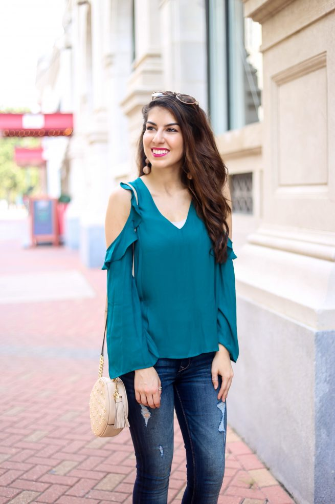 Ruffle Cold Shoulder Top for Fall