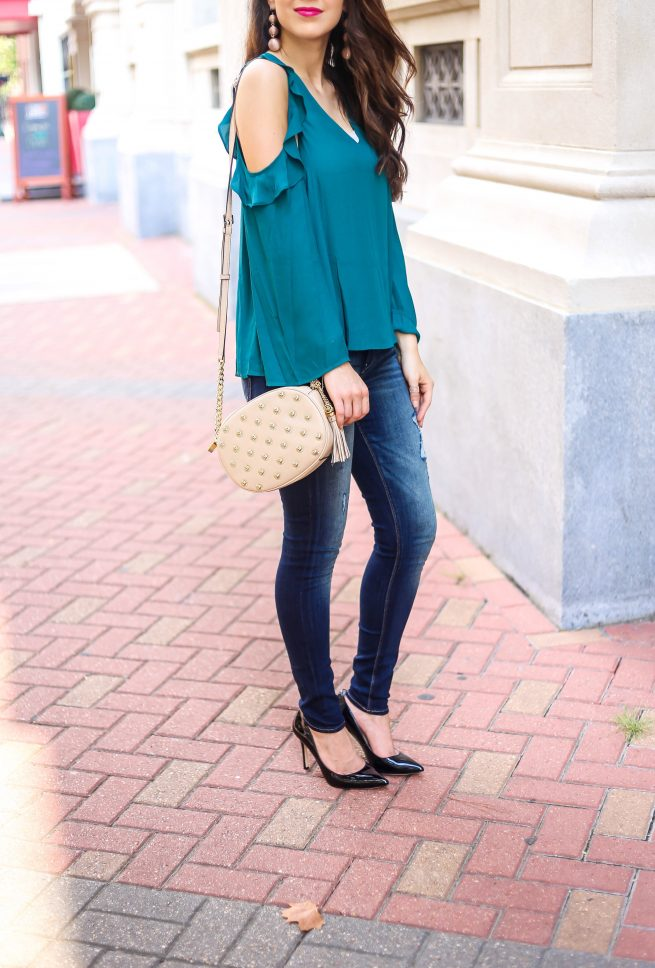 Teal Green Ruffle Cold Shulder Blouse