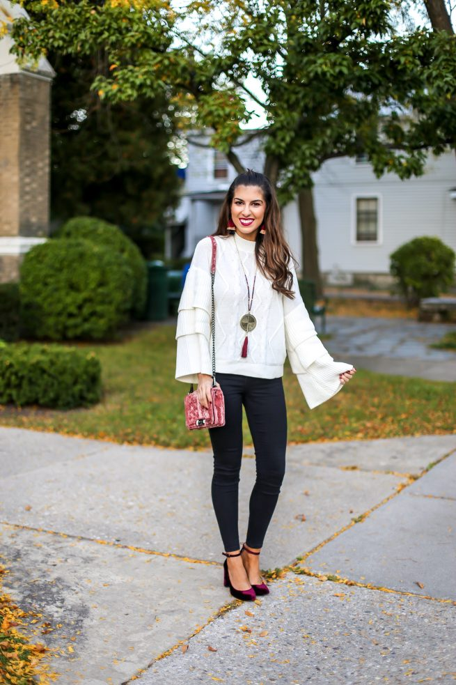 Cable Knit Tiered Sweater and Black Skinny Jeans