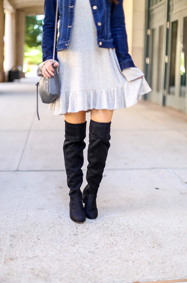 Denim Jacket and Grey Ruffle Dress with Black Over the Knee Boots