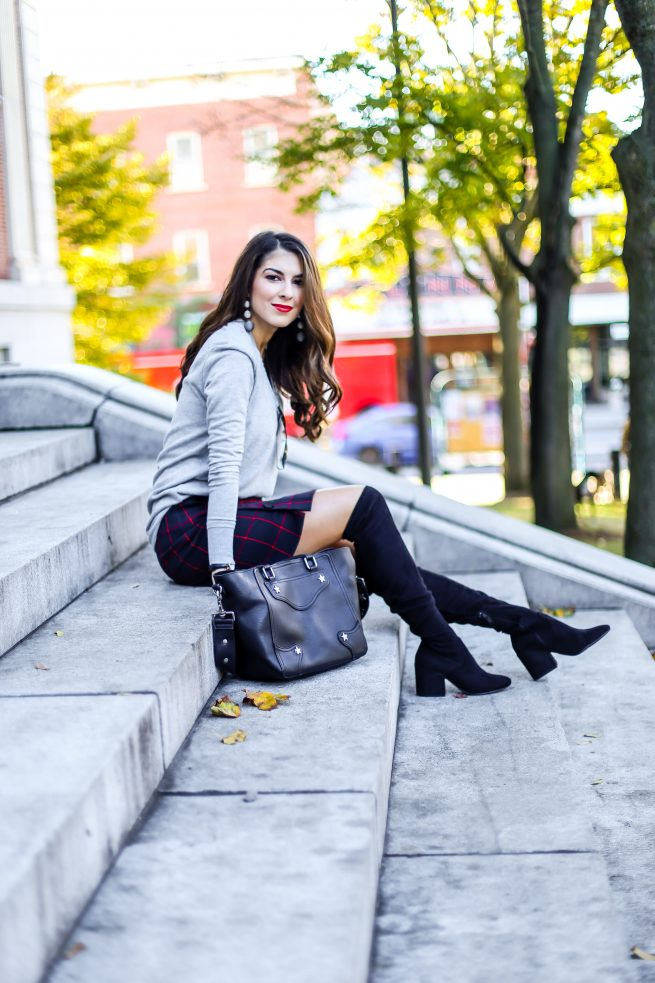 Grey Sweater and Plaid Skirt for Fall