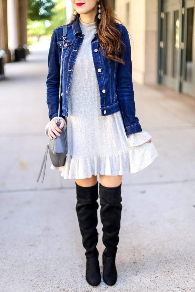 How to Style Denim Jacket with a Dress for Fall