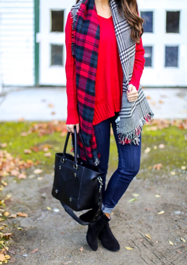 Red Sweater and Reversible Scarf