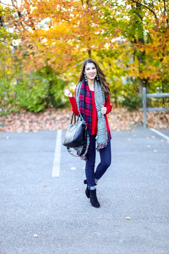 Red Sweater for Fall and Denim Style