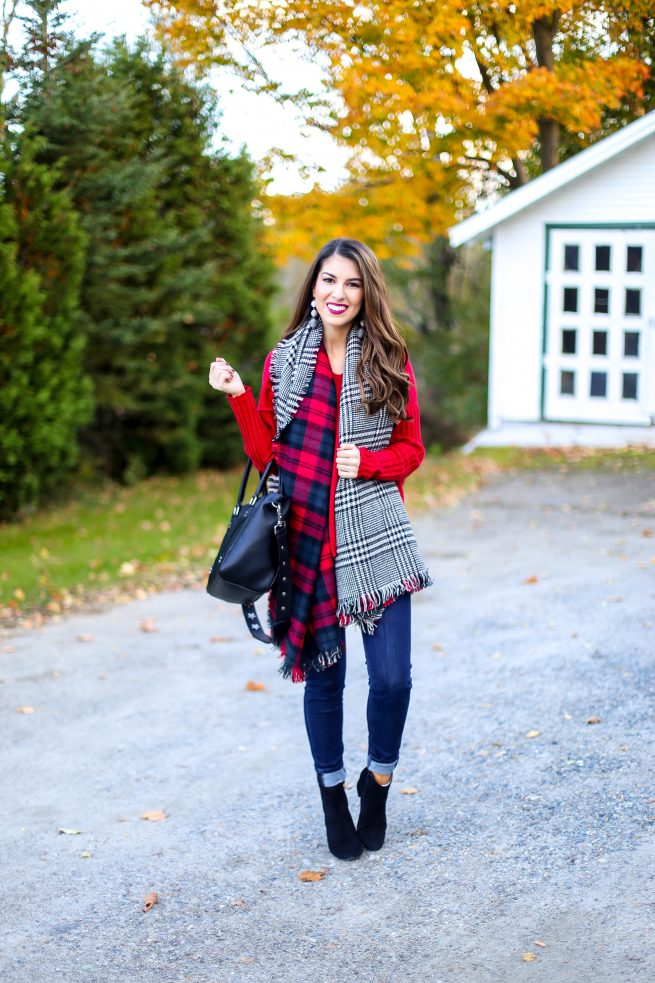 Red V Neck Sweater for Fall