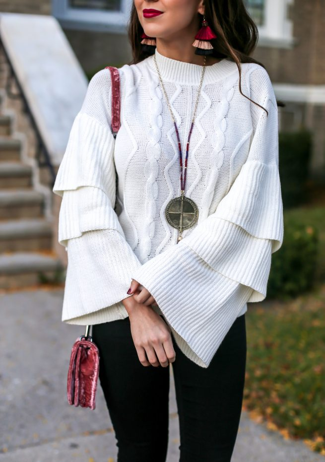Tiered Cable Knit Sweater