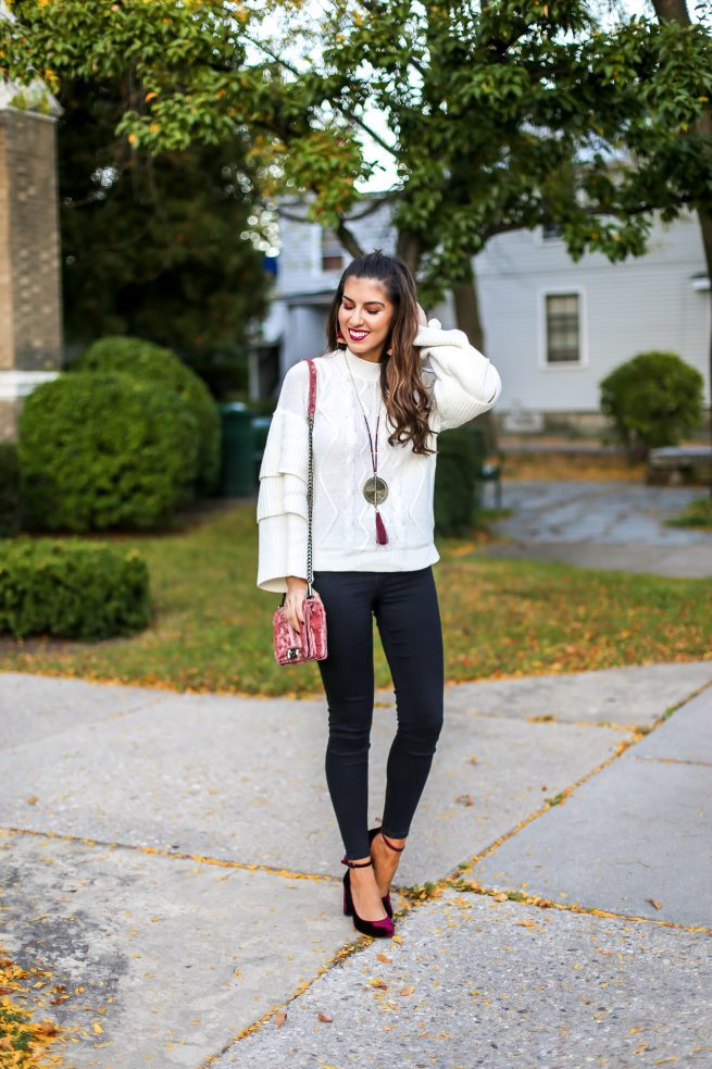 Tiered Cable Knit Sweater and Black Denim Jeans