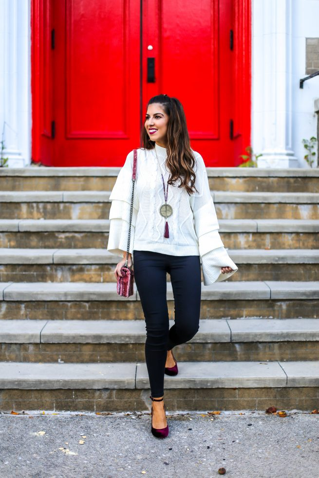 Tiered Cable Knit Sweater with Black Skinny Jeans